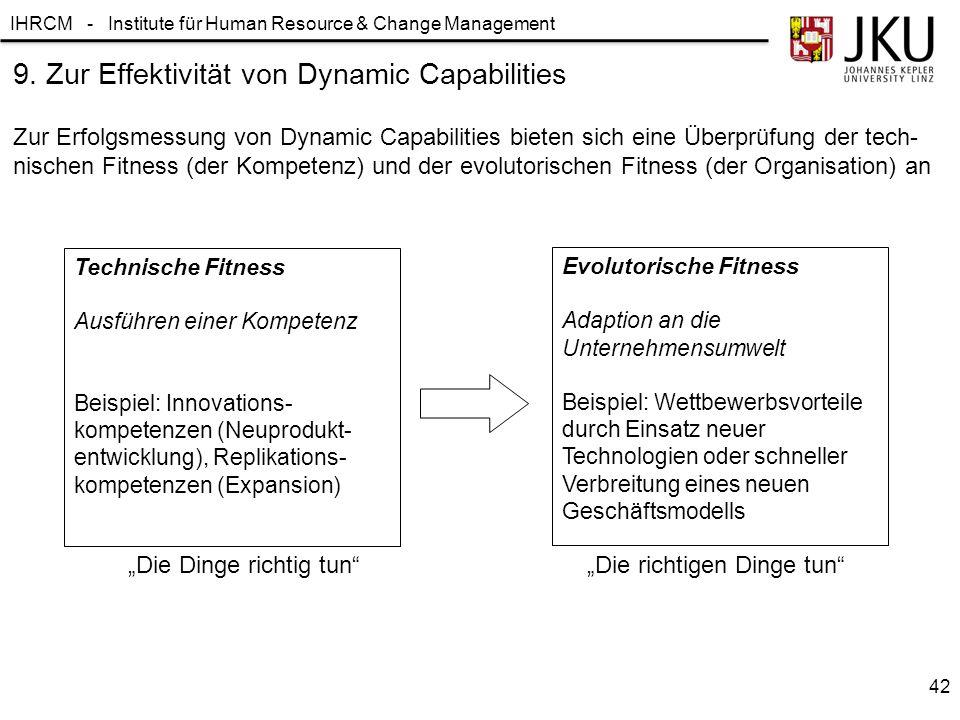 IHRCM - Institute für Human Resource & Change Management 9. Zur Effektivität von Dynamic Capabilities Zur Erfolgsmessung von Dynamic Capabilities biet