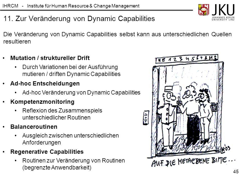 IHRCM - Institute für Human Resource & Change Management 11. Zur Veränderung von Dynamic Capabilities Die Veränderung von Dynamic Capabilities selbst