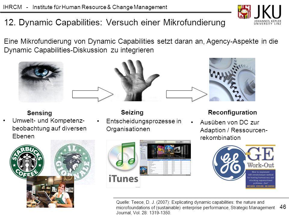 IHRCM - Institute für Human Resource & Change Management 12. Dynamic Capabilities: Versuch einer Mikrofundierung Eine Mikrofundierung von Dynamic Capa