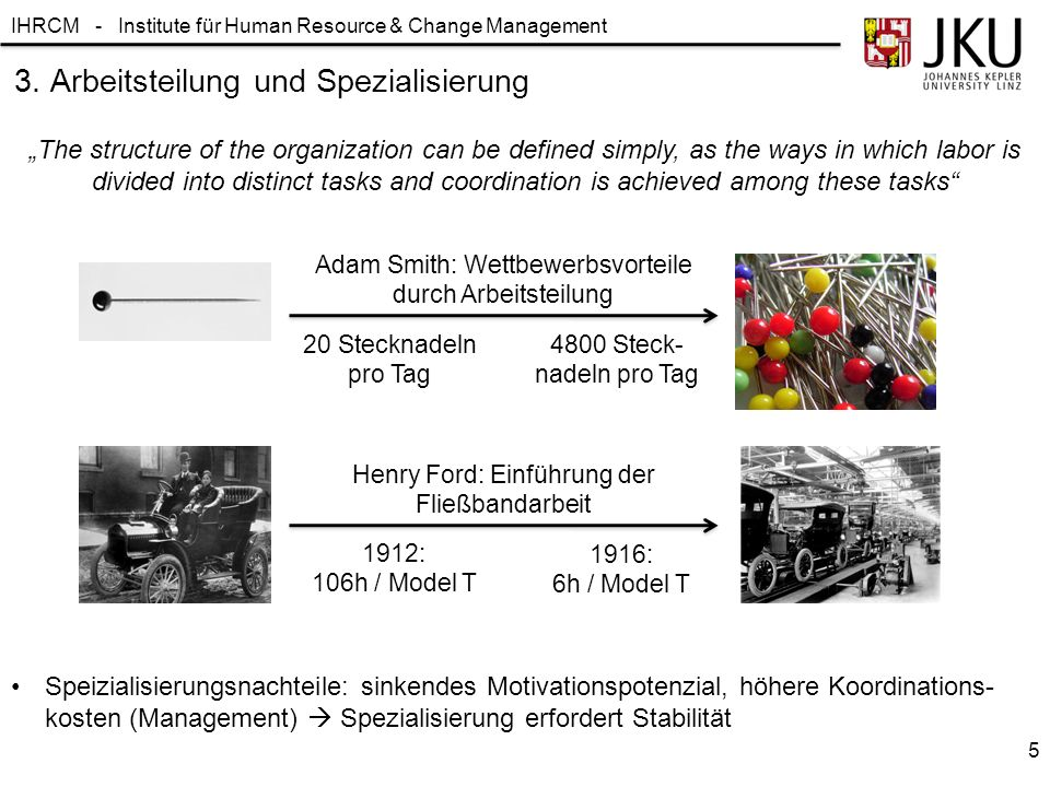 """IHRCM - Institute für Human Resource & Change Management """"The structure of the organization can be defined simply, as the ways in which labor is divid"""