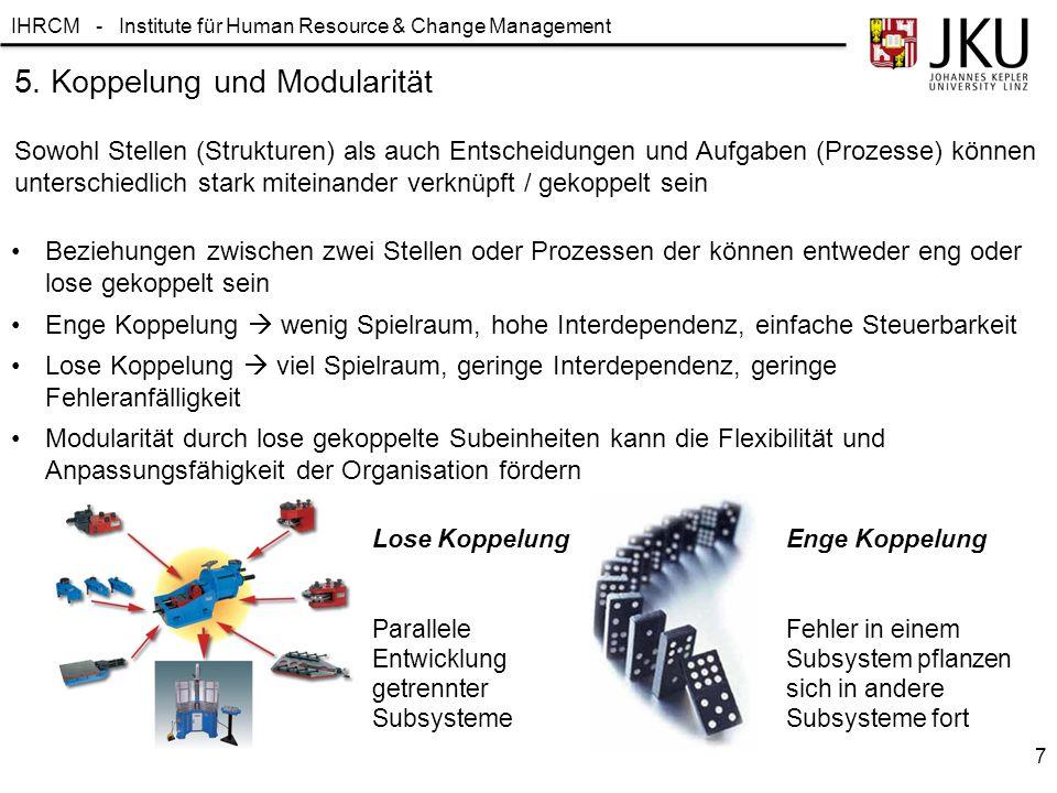 IHRCM - Institute für Human Resource & Change Management Beziehungen zwischen zwei Stellen oder Prozessen der können entweder eng oder lose gekoppelt