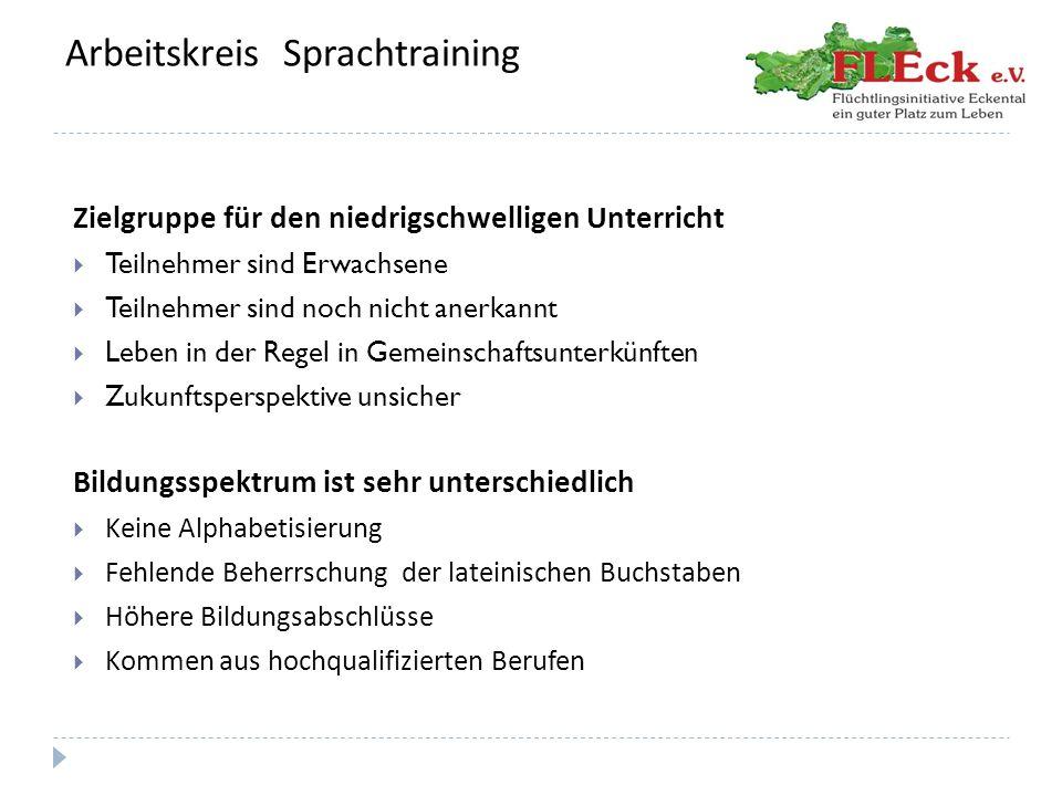 Arbeitskreis Sprachtraining Richtlinien  Wir führen den Unterricht nach den Richtlinien des Europäischen Referenzrahmens aus, das bedeutet:  Beurteilung von Fortschritten in den Lernerfolgen sind bezogen auf eine Fremdsprache, in diesem Fall die Deutsche Sprache.