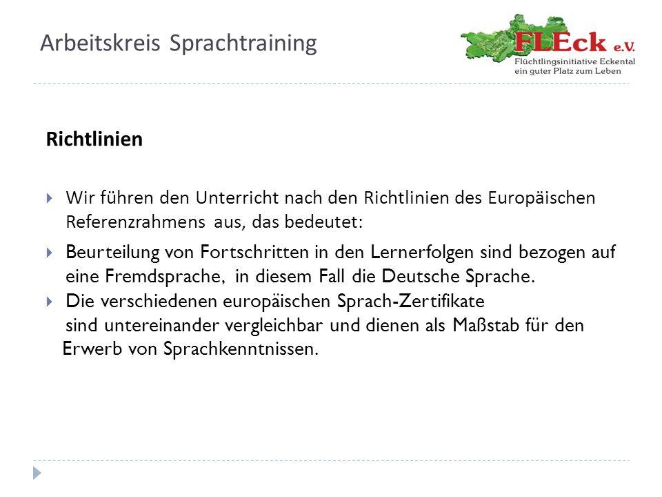 Arbeitskreis Sprachtraining Richtlinien  Wir führen den Unterricht nach den Richtlinien des Europäischen Referenzrahmens aus, das bedeutet:  Beurtei