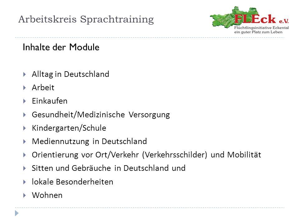 Arbeitskreis Sprachtraining Inhalte der Module  Alltag in Deutschland  Arbeit  Einkaufen  Gesundheit/Medizinische Versorgung  Kindergarten/Schule