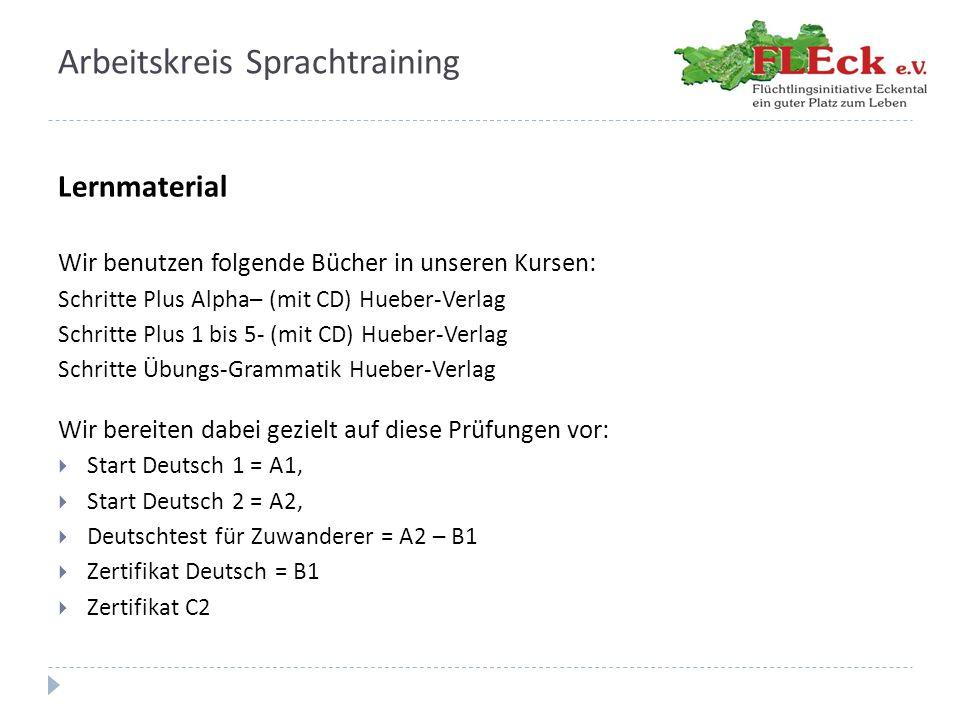 Arbeitskreis Sprachtraining Lernmaterial Wir benutzen folgende Bücher in unseren Kursen: Schritte Plus Alpha– (mit CD) Hueber-Verlag Schritte Plus 1 b