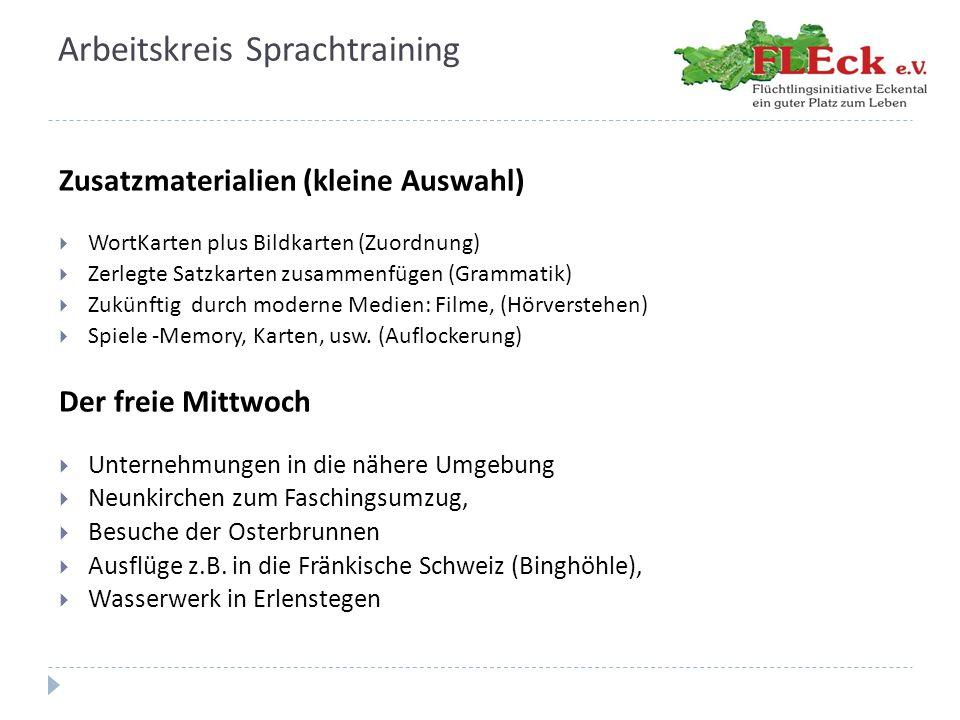 Arbeitskreis Sprachtraining Unterrichtszeiten  zur Zeit laufen 7 Kurse  4 Werktage/Woche (Mo, Di, Do, Fr) jeweils 2 Stunden  d.h.