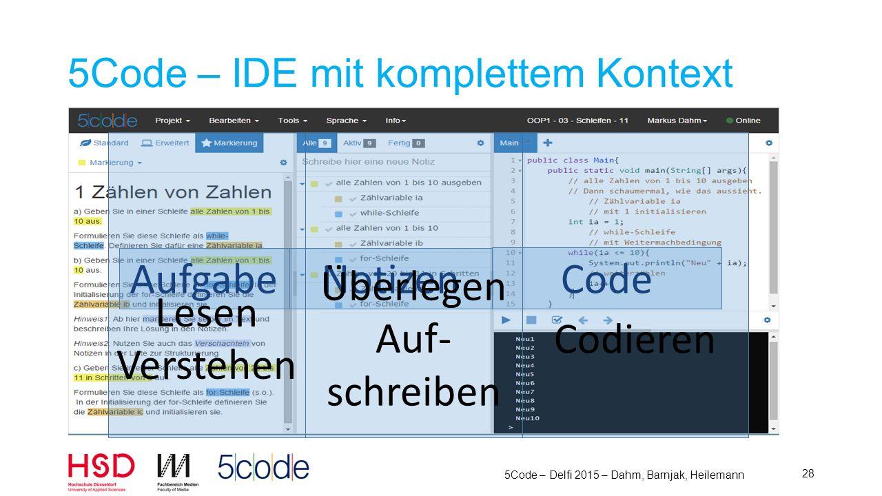 5Code – Delfi 2015 – Dahm, Barnjak, Heilemann 29 5Code – IDE mit komplettem Kontext Aufgabe Notizen Code