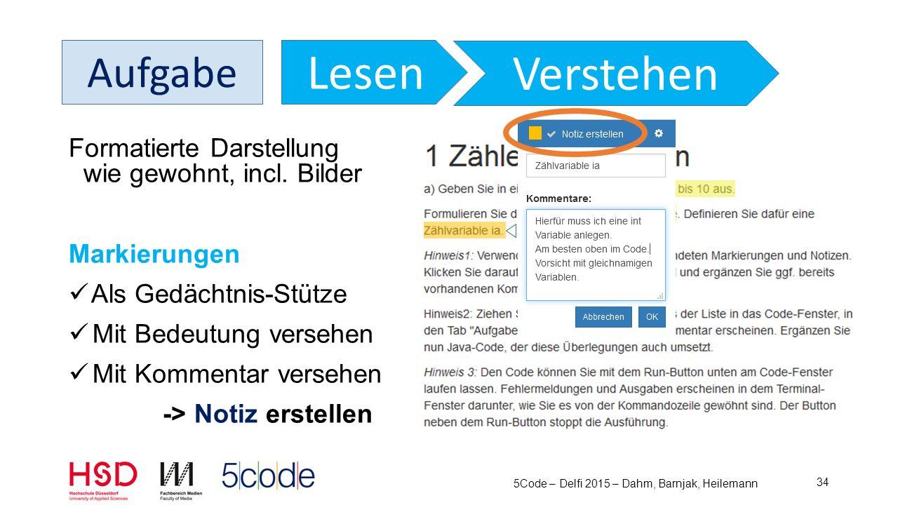 5Code – Delfi 2015 – Dahm, Barnjak, Heilemann 35 Aufgabe NotizenCode