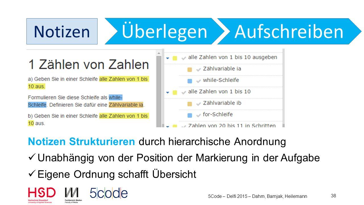 Notizen auch als TODO Liste Erledigt -> abhaken -> Fertig +1, Aktiv -1 Filtern nach Aktiv oder Fertig 5Code – Delfi 2015 – Dahm, Barnjak, Heilemann 39 Überlegen Aufschreiben Notizen
