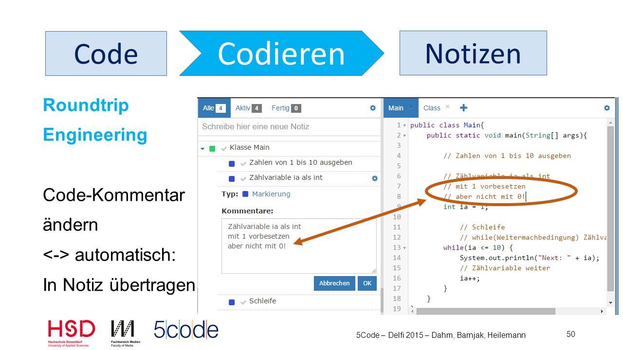 5Code – Delfi 2015 – Dahm, Barnjak, Heilemann 51 Code Codieren Web-Programmierung HTML CSS JS kann jeweils in eigenen Tab-Typen geschrieben werden (Lesen >Verstehen >Überlegen >Aufschreiben bleibt gleich)