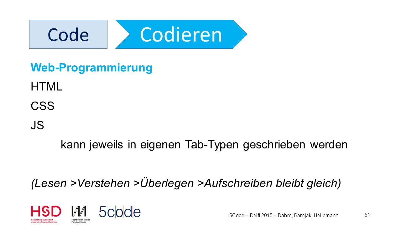 5Code – Delfi 2015 – Dahm, Barnjak, Heilemann 52 Code Codieren Web-Programmierung HTML CSS JS Und kann auch getestet werden