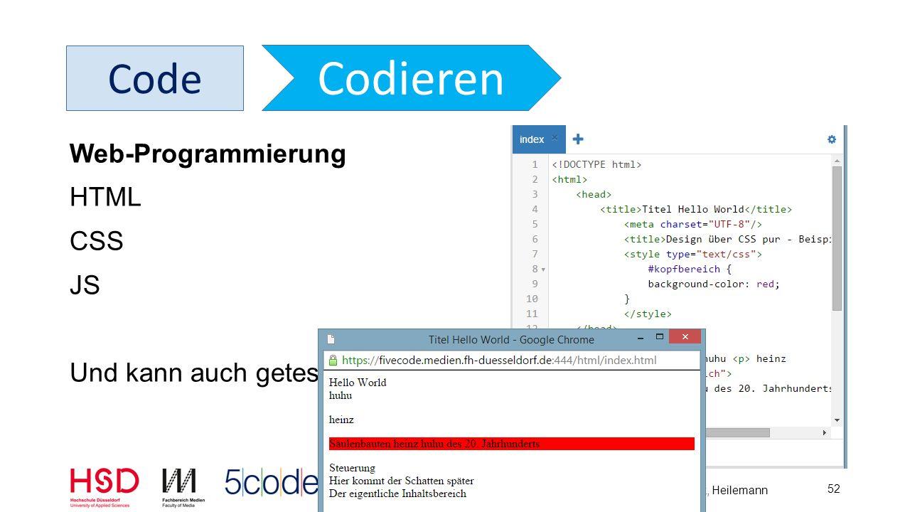 5Code – Delfi 2015 – Dahm, Barnjak, Heilemann 53 Code Codieren Web-Programmierung Notizen -> HTML-Kommentar