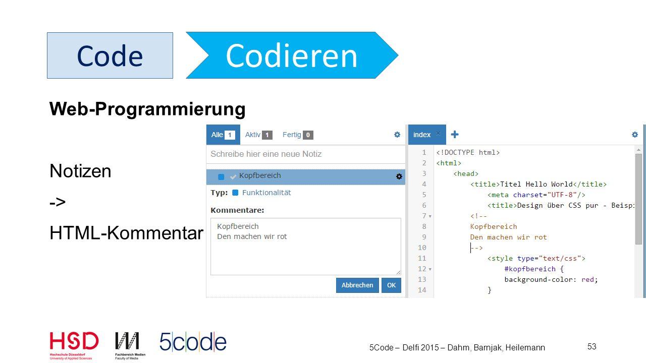 5Code – Delfi 2015 – Dahm, Barnjak, Heilemann 54 Code Codieren Web-Programmierung Notizen -> JS-Kommentar