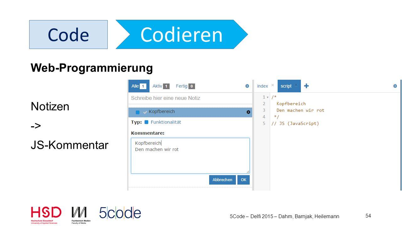 5Code – Delfi 2015 – Dahm, Barnjak, Heilemann 55 Code Codieren Web-Programmierung Notizen -> CSS-Kommentar