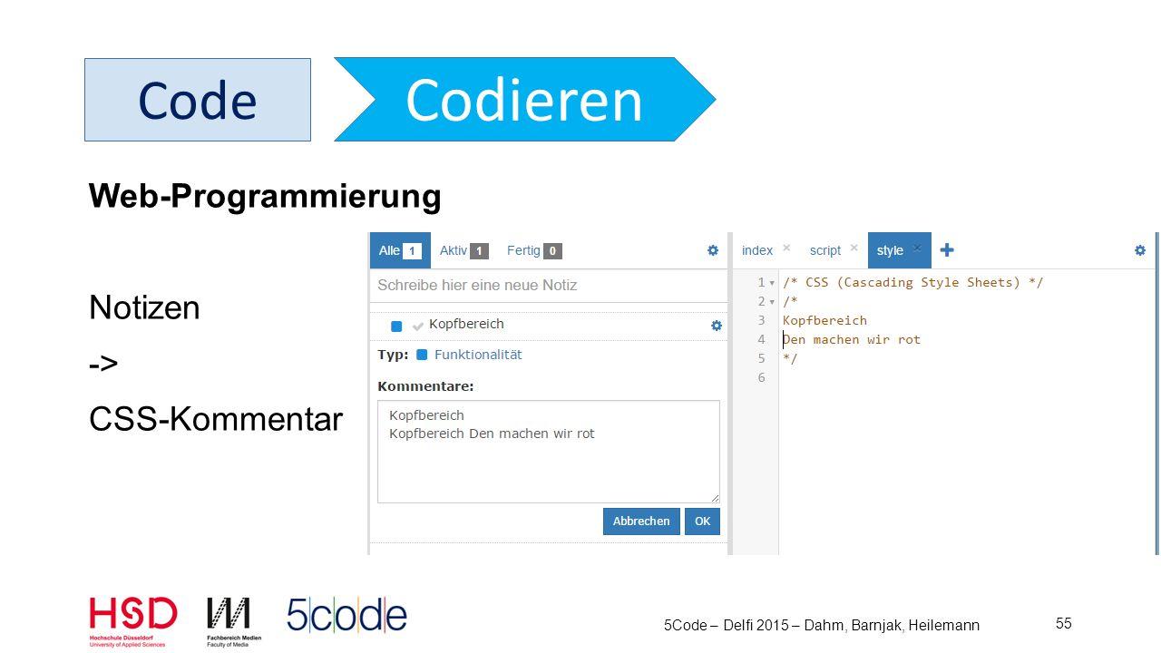 5Code – Delfi 2015 – Dahm, Barnjak, Heilemann 56 Code Codieren Code-Editor Java HTML/CSS/JS Tabs Syntax Highlighting Terminal Fenster Browser Fenster Roundtrip-Engineering Fehlerbehandlung