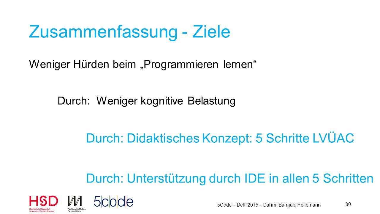 5Code – Delfi 2015 – Dahm, Barnjak, Heilemann 81 Lösung: Didaktisches Konzept – 5 Schritte L esen V erstehen A ufschreiben C odieren Ü berlegen