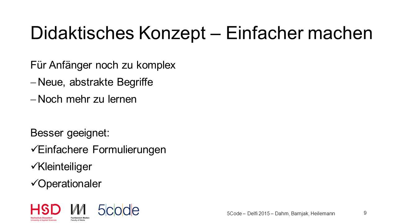 5Code – Delfi 2015 – Dahm, Barnjak, Heilemann 10 Didaktisches Konzept – 5 Schritte L esen V erstehen A ufschreiben C odieren Analyse Design Implementierung Ü berlegen