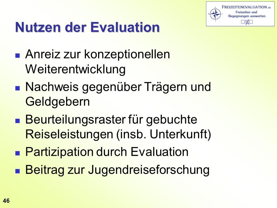 46 Nutzen der Evaluation Anreiz zur konzeptionellen Weiterentwicklung Nachweis gegenüber Trägern und Geldgebern Beurteilungsraster für gebuchte Reiseleistungen (insb.