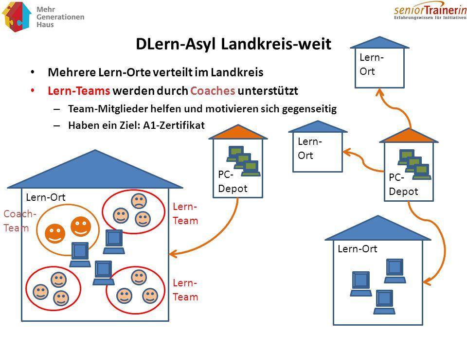 DLern-Asyl Landkreis-weit Mehrere Lern-Orte verteilt im Landkreis Lern-Teams werden durch Coaches unterstützt – Team-Mitglieder helfen und motivieren