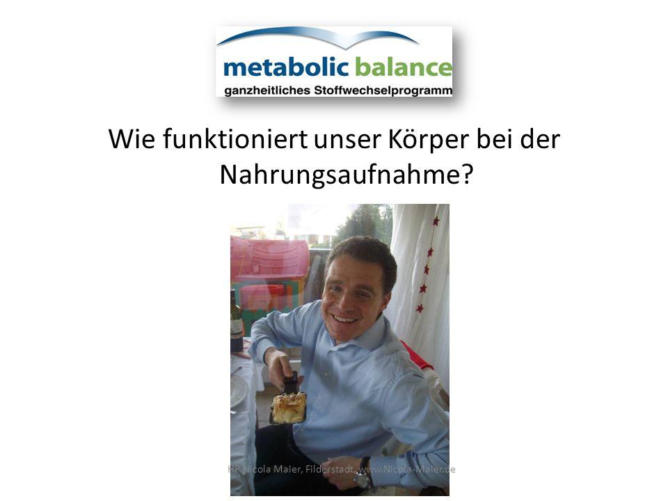 Wie funktioniert unser Körper bei der Nahrungsaufnahme? HP Nicola Maier, Filderstadt, www.Nicola-Maier.de