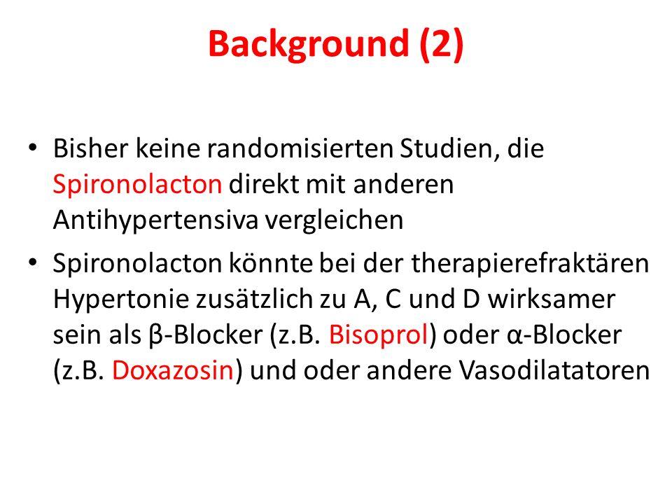 Background (2) Bisher keine randomisierten Studien, die Spironolacton direkt mit anderen Antihypertensiva vergleichen Spironolacton könnte bei der therapierefraktären Hypertonie zusätzlich zu A, C und D wirksamer sein als β-Blocker (z.B.