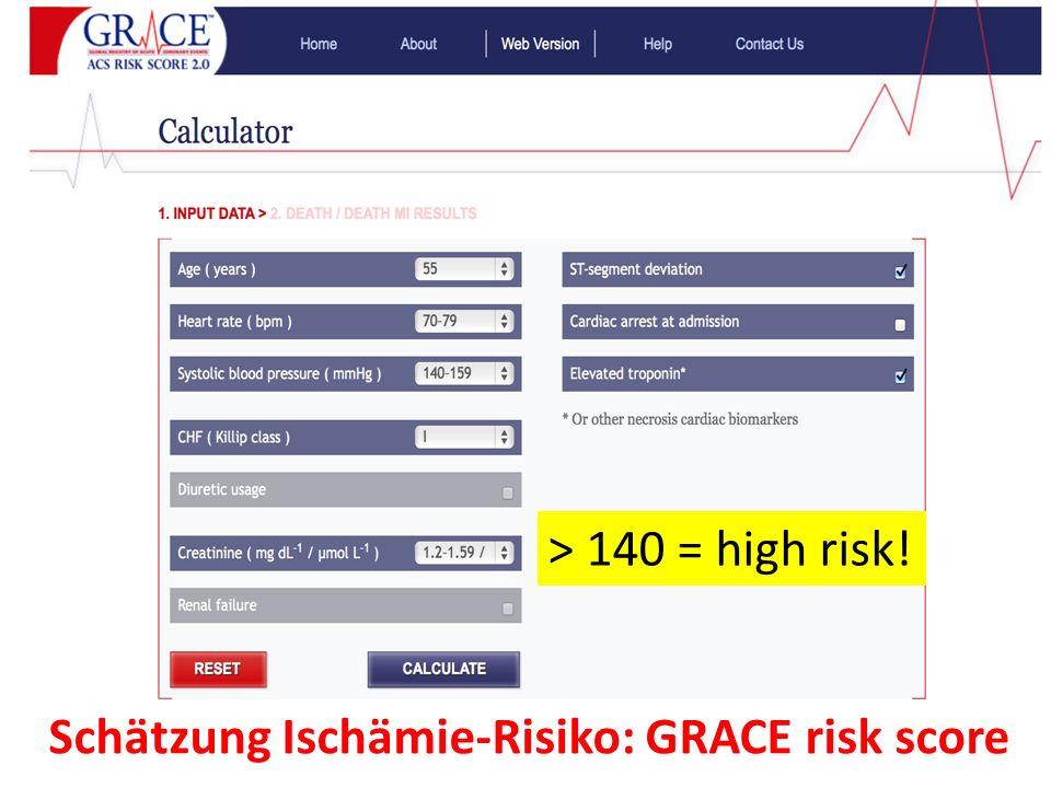 Schätzung Ischämie-Risiko: GRACE risk score > 140 = high risk!