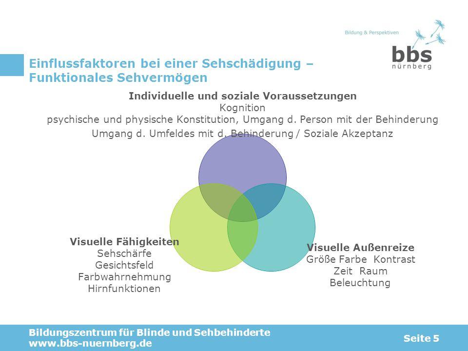 Einflussfaktoren bei einer Sehschädigung – Funktionales Sehvermögen Bildungszentrum für Blinde und Sehbehinderte www.bbs-nuernberg.de Seite 5 Individu