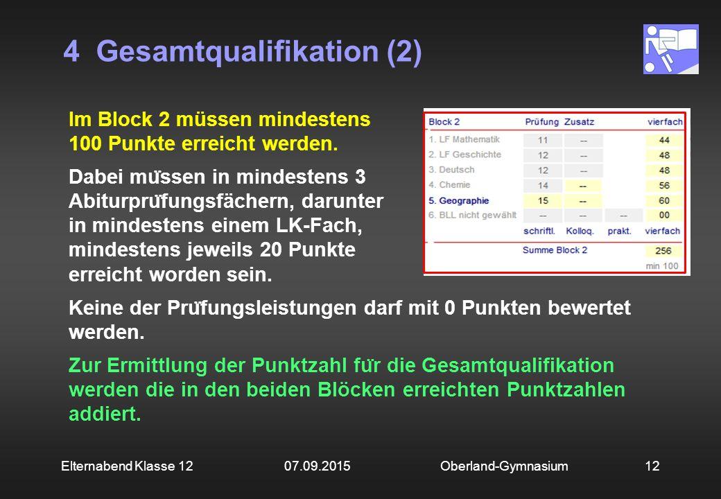 4 Gesamtqualifikation (2) Oberland-Gymnasium12Elternabend Klasse 12 07.09.2015 Im Block 2 müssen mindestens 100 Punkte erreicht werden. Dabei mu ̈ sse