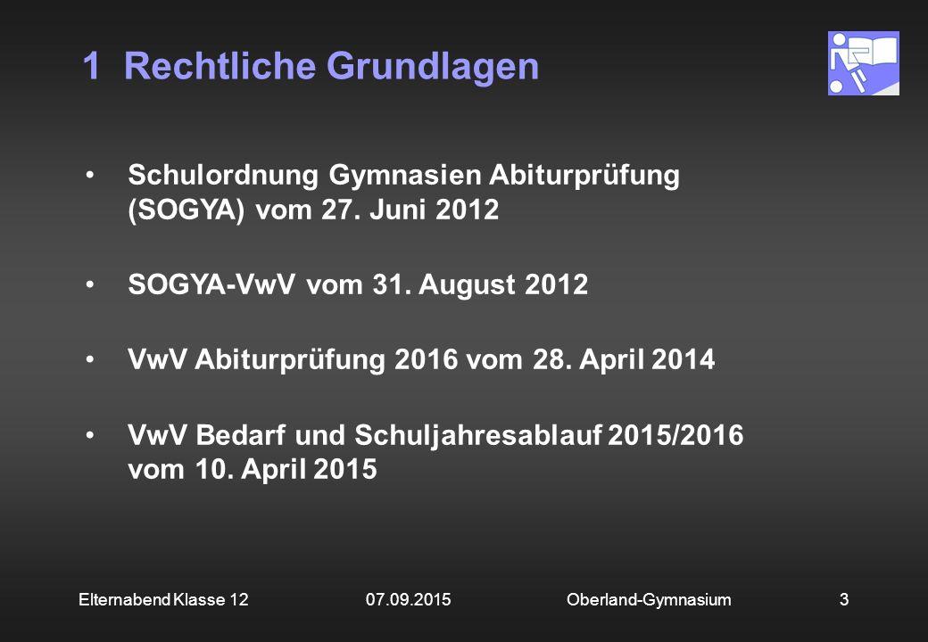 1 Rechtliche Grundlagen Oberland-Gymnasium3Elternabend Klasse 12 07.09.2015 Schulordnung Gymnasien Abiturprüfung (SOGYA) vom 27. Juni 2012 SOGYA-VwV v