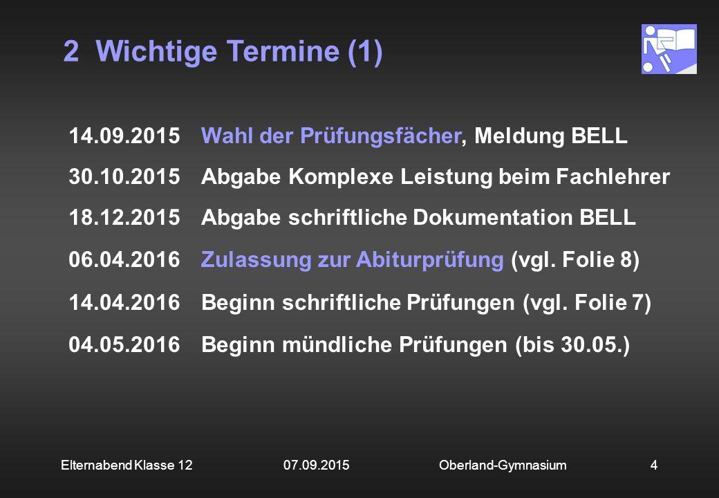 2 Wichtige Termine (1) Oberland-Gymnasium4Elternabend Klasse 12 07.09.2015 14.09.2015Wahl der Prüfungsfächer, Meldung BELL 30.10.2015Abgabe Komplexe L