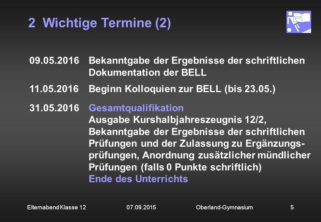 2 Wichtige Termine (2) Oberland-Gymnasium5Elternabend Klasse 12 07.09.2015 09.05.2016Bekanntgabe der Ergebnisse der schriftlichen Dokumentation der BE