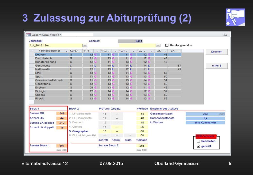 3 Zulassung zur Abiturprüfung (3) Oberland-Gymnasium10Elternabend Klasse 12 07.09.2015 Im Block 1 müssen mindestens 200 Punkte erreicht werden.