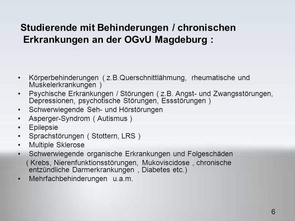 Körperbehinderungen ( z.B.Querschnittlähmung, rheumatische und Muskelerkrankungen ) Psychische Erkrankungen / Störungen ( z.B.