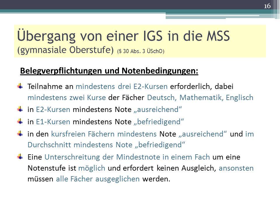 Übergang von einer IGS in die MSS (gymnasiale Oberstufe) (§ 30 Abs. 3 ÜSchO) Belegverpflichtungen und Notenbedingungen: Teilnahme an mindestens drei E