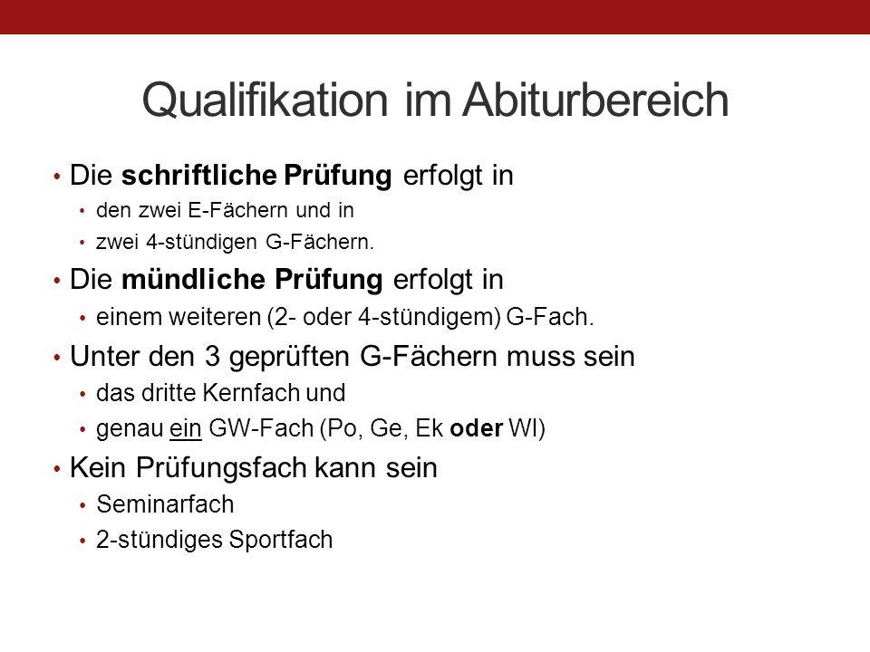 Qualifikation im Abiturbereich Die schriftliche Prüfung erfolgt in den zwei E-Fächern und in zwei 4-stündigen G-Fächern.