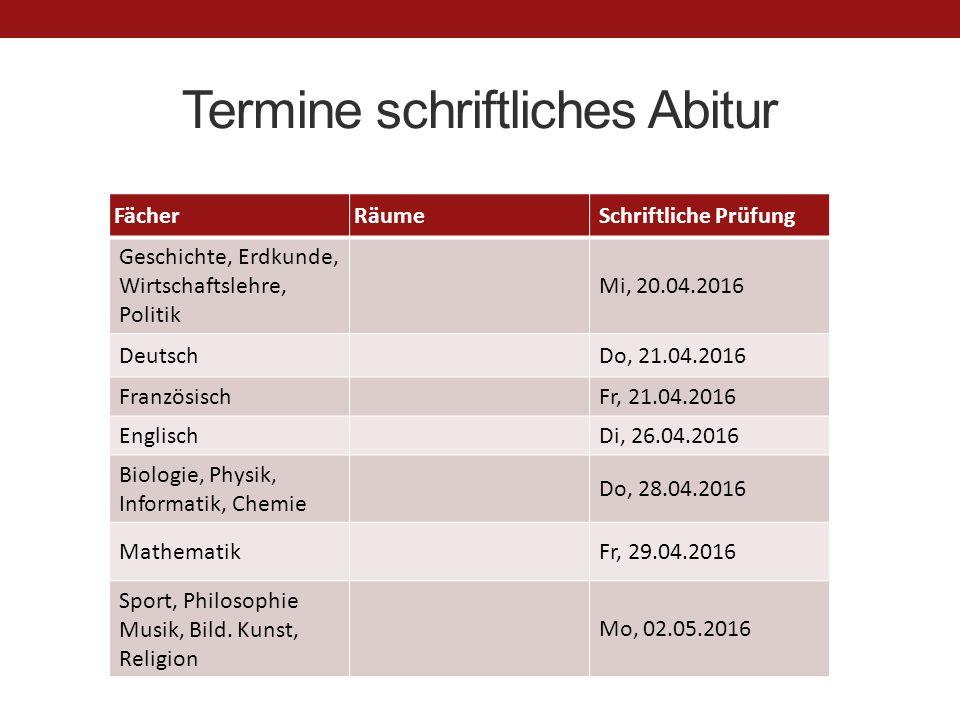 Termine schriftliches Abitur FächerRäumeSchriftliche Prüfung Geschichte, Erdkunde, Wirtschaftslehre, Politik Mi, 20.04.2016 DeutschDo, 21.04.2016 Fran