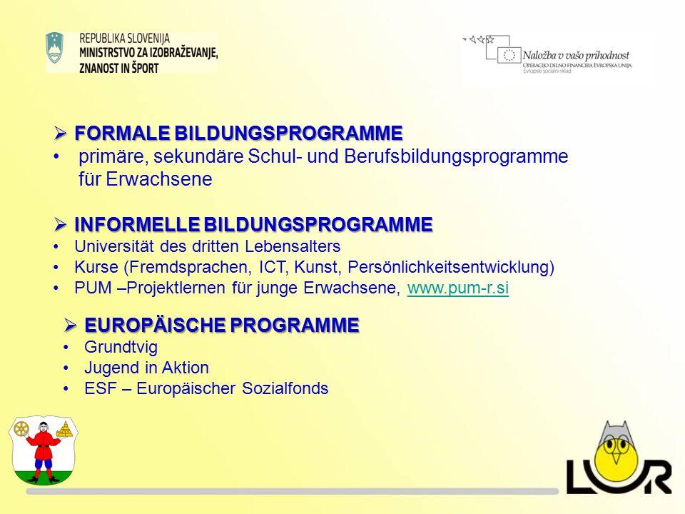  EUROPÄISCHE PROGRAMME Grundtvig Jugend in Aktion ESF – Europäischer Sozialfonds  FORMALE BILDUNGSPROGRAMME primäre, sekundäre Schul- und Berufsbildungsprogramme für Erwachsene  INFORMELLE BILDUNGSPROGRAMME Universität des dritten Lebensalters Kurse (Fremdsprachen, ICT, Kunst, Persönlichkeitsentwicklung) PUM –Projektlernen für junge Erwachsene, www.pum-r.siwww.pum-r.si