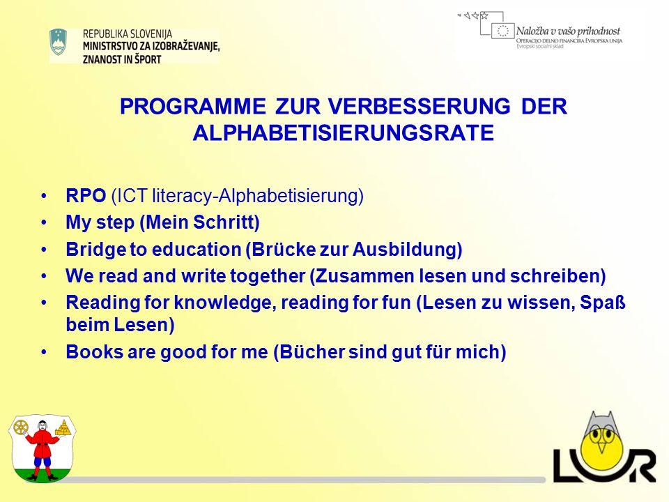PROGRAMME ZUR VERBESSERUNG DER ALPHABETISIERUNGSRATE RPO (ICT literacy-Alphabetisierung) My step (Mein Schritt) Bridge to education (Brücke zur Ausbil