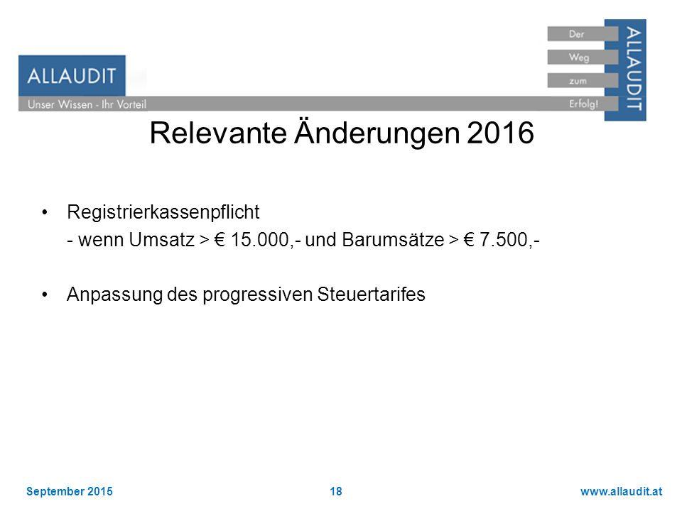 www.allaudit.atSeptember 201518 Relevante Änderungen 2016 Registrierkassenpflicht - wenn Umsatz > € 15.000,- und Barumsätze > € 7.500,- Anpassung des