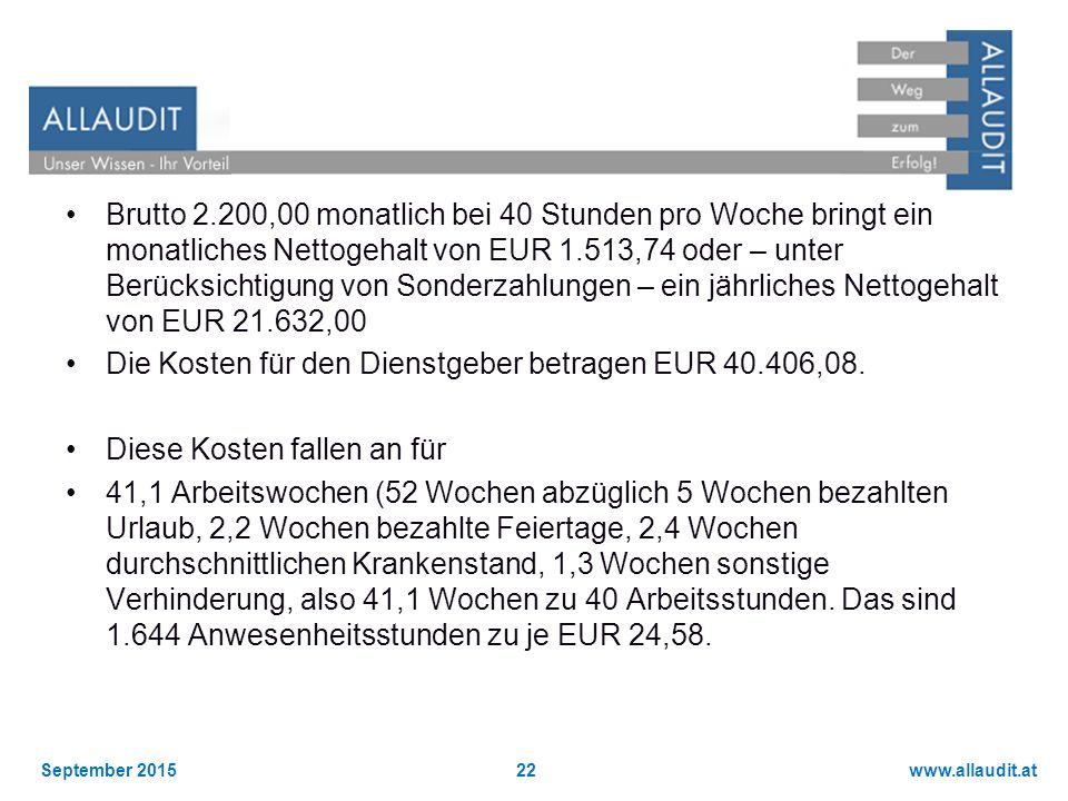www.allaudit.atSeptember 201522 Brutto 2.200,00 monatlich bei 40 Stunden pro Woche bringt ein monatliches Nettogehalt von EUR 1.513,74 oder – unter Be