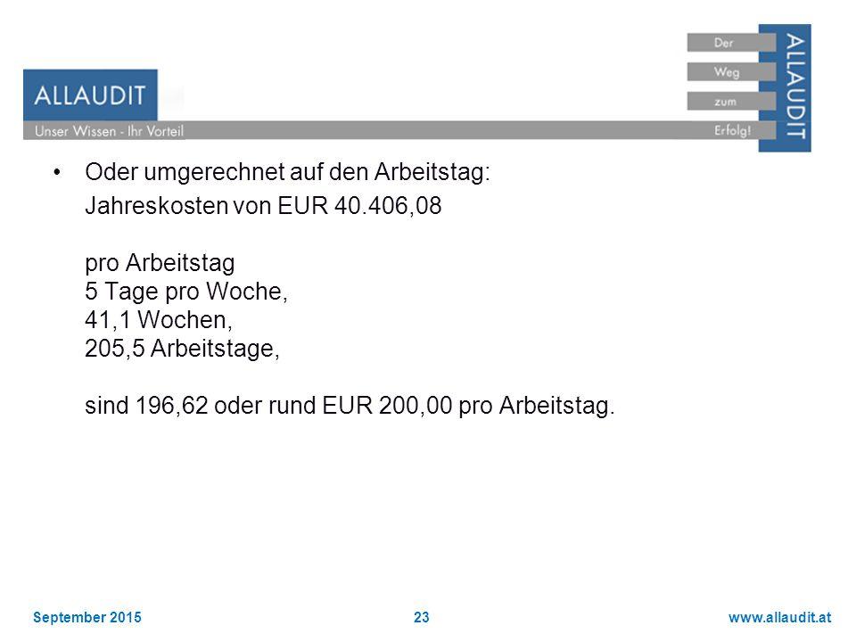 www.allaudit.atSeptember 201523 Oder umgerechnet auf den Arbeitstag: Jahreskosten von EUR 40.406,08 pro Arbeitstag 5 Tage pro Woche, 41,1 Wochen, 205,