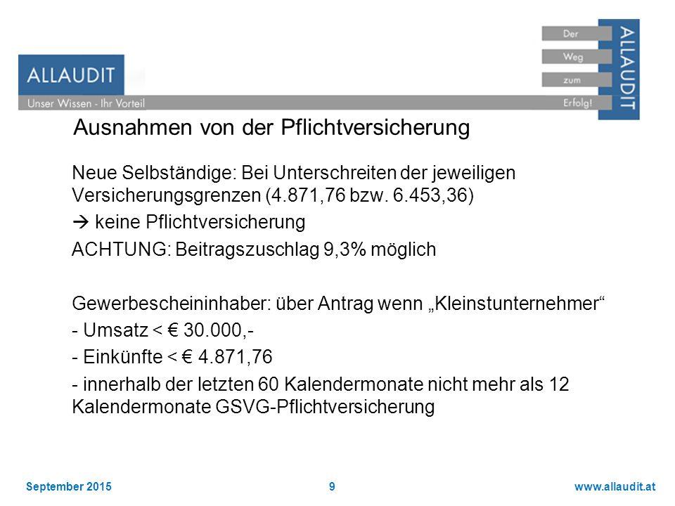 www.allaudit.atSeptember 20159 Ausnahmen von der Pflichtversicherung Neue Selbständige: Bei Unterschreiten der jeweiligen Versicherungsgrenzen (4.871,