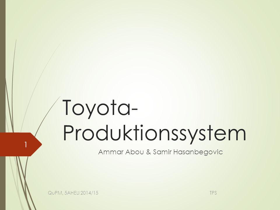 Allgemein  Begründer: Toyoda Sakichi  Toyoda Kiichirō: der erste Vorsitzende der Toyota Motor Corporation(1937)  Gründe für die Entstehung des TPS  Ziel des TPS QuPM, 5AHELI 2014/15 TPS 2
