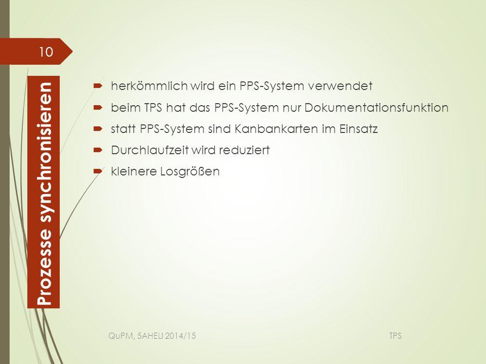  herkömmlich wird ein PPS-System verwendet  beim TPS hat das PPS-System nur Dokumentationsfunktion  statt PPS-System sind Kanbankarten im Einsatz 