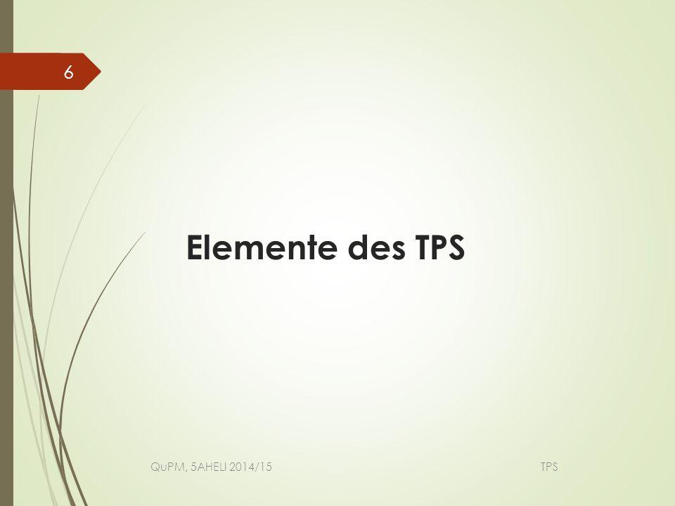Produktion im Kundentakt Verschwendung eliminieren Prozesse synchronisieren Prozesse standardisieren Fehler vermeiden Anlagen verbessern Arbeiter trainieren Verbesserung in kleinen Schritten QuPM, 5AHELI 2014/15 TPS 7