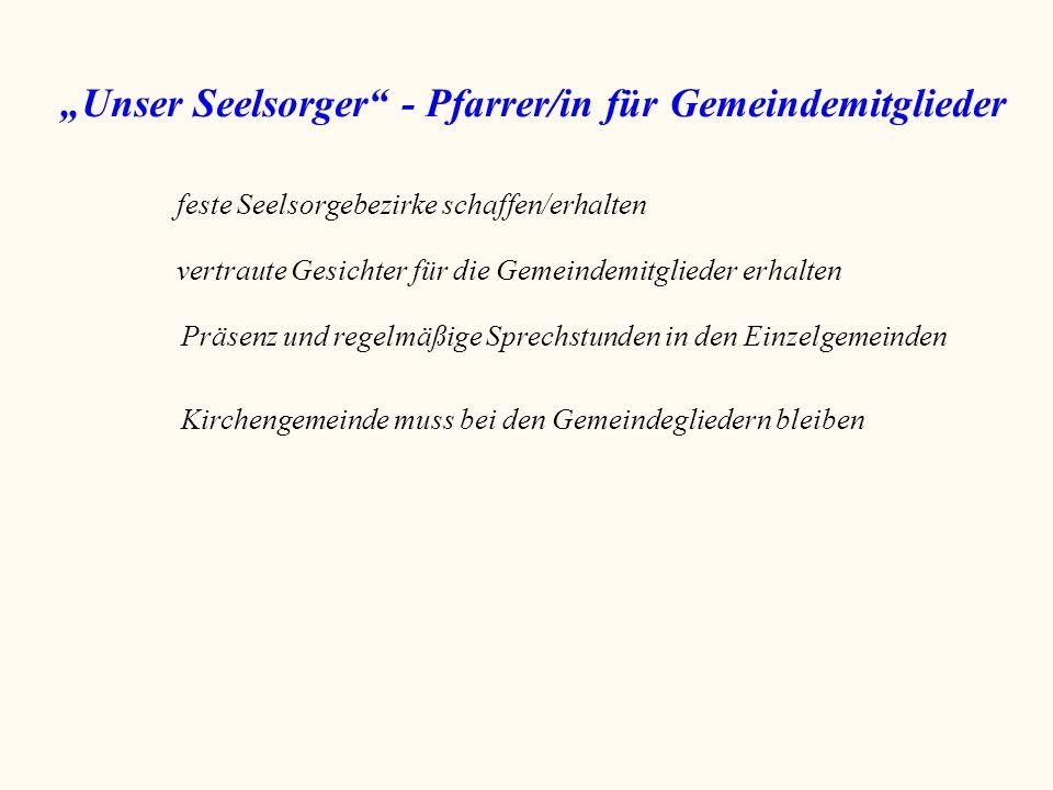 """""""Unser Seelsorger"""" - Pfarrer/in für Gemeindemitglieder feste Seelsorgebezirke schaffen/erhalten vertraute Gesichter für die Gemeindemitglieder erhalte"""