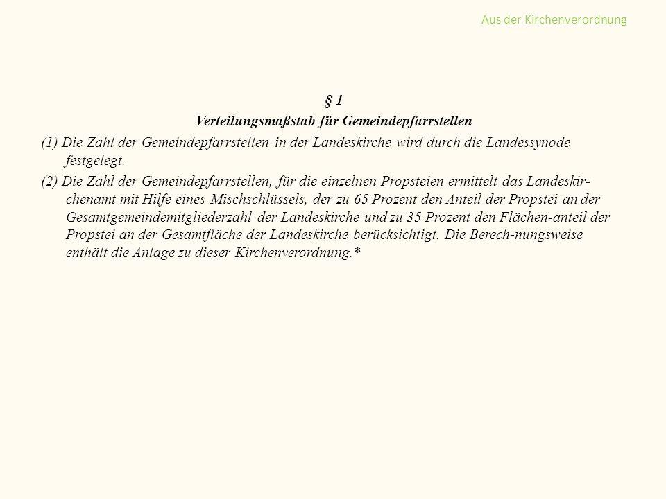 § 1 Verteilungsmaßstab für Gemeindepfarrstellen (1) Die Zahl der Gemeindepfarrstellen in der Landeskirche wird durch die Landessynode festgelegt. (2)