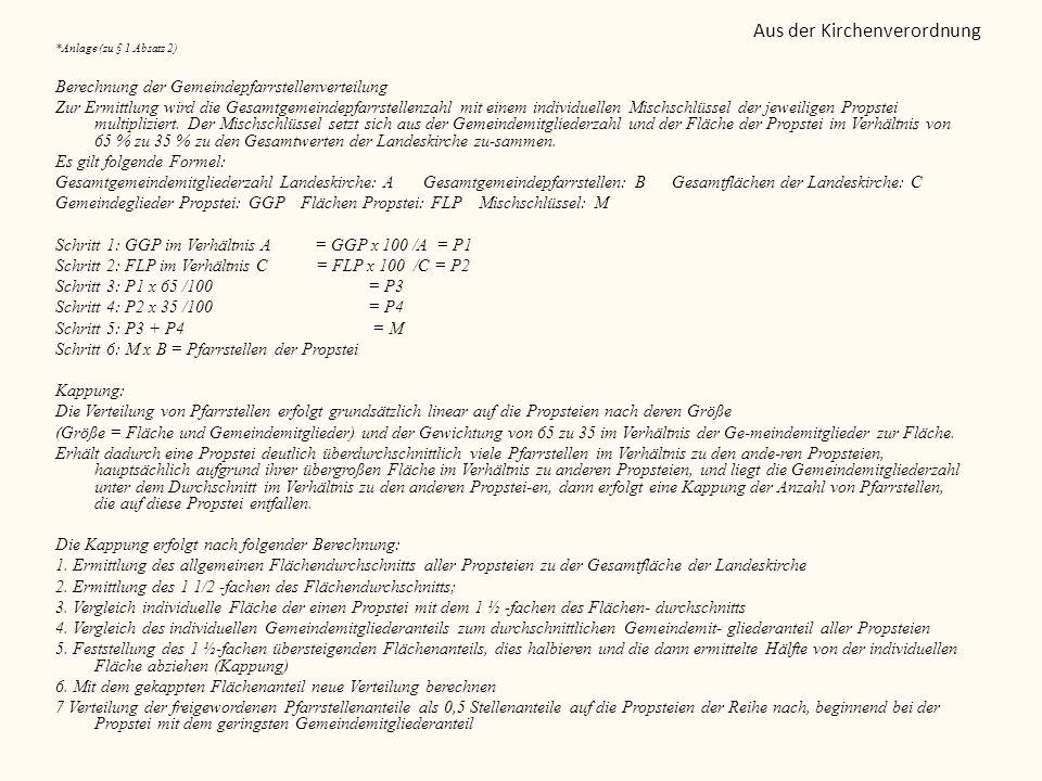 *Anlage (zu § 1 Absatz 2) Berechnung der Gemeindepfarrstellenverteilung Zur Ermittlung wird die Gesamtgemeindepfarrstellenzahl mit einem individuellen