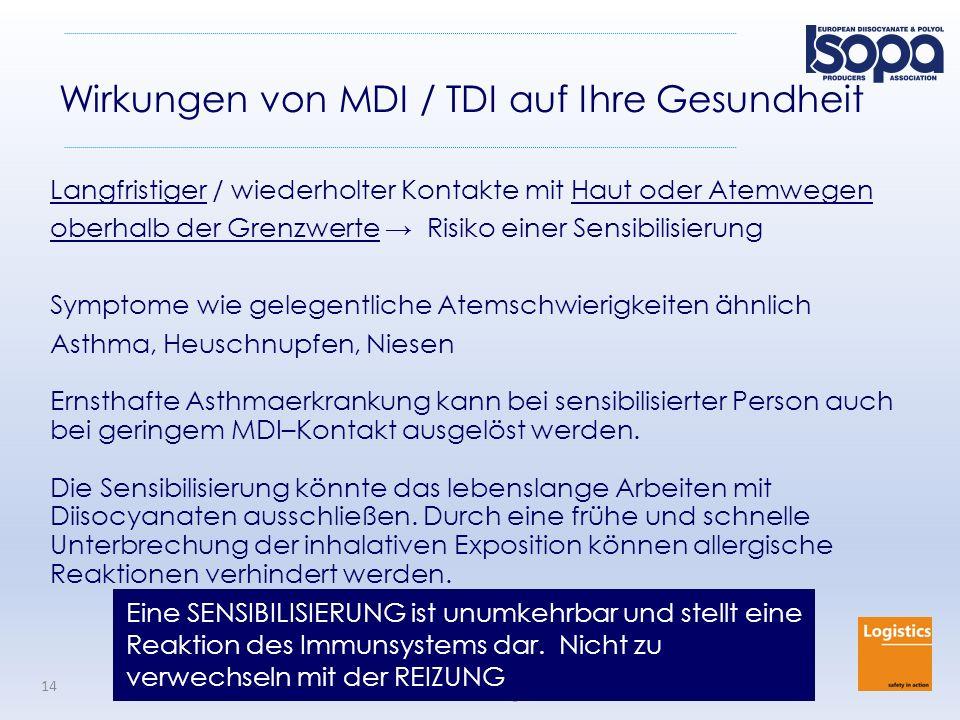 ISOPA Driver Training Program Ueberarbeitung 2015 14 Wirkungen von MDI / TDI auf Ihre Gesundheit Langfristiger / wiederholter Kontakte mit Haut oder A