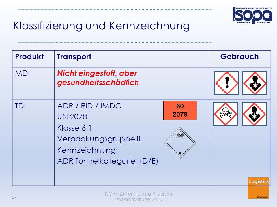 ISOPA Driver Training Program Ueberarbeitung 2015 17 ProduktTransportGebrauch MDI Nicht eingestuft, aber gesundheitsschädlich TDIADR / RID / IMDG UN 2